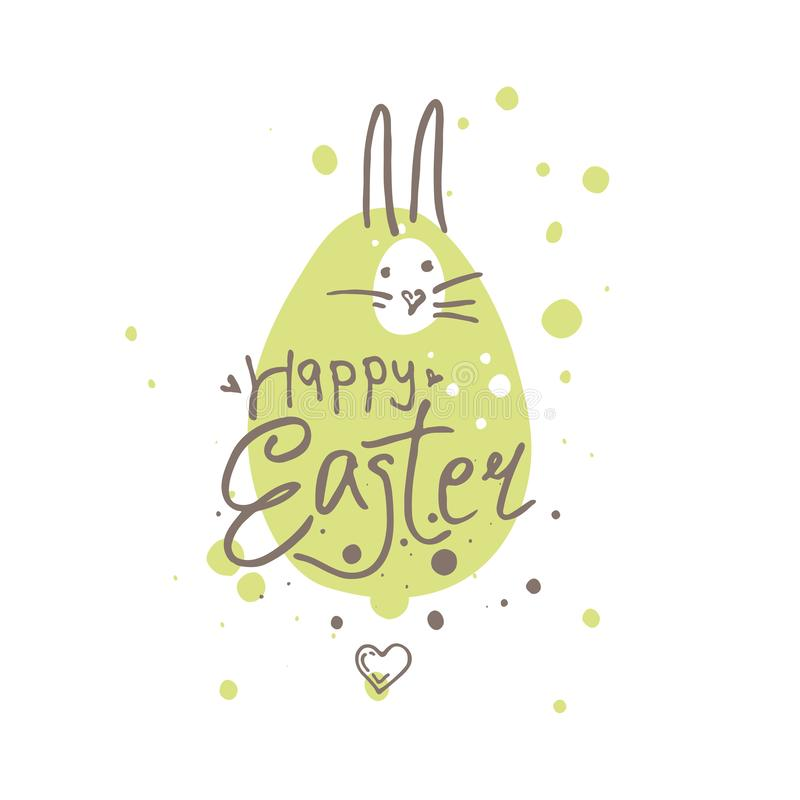 Happy Easter funny illustration. Easter bunny on the green blot background. royalty free illustration