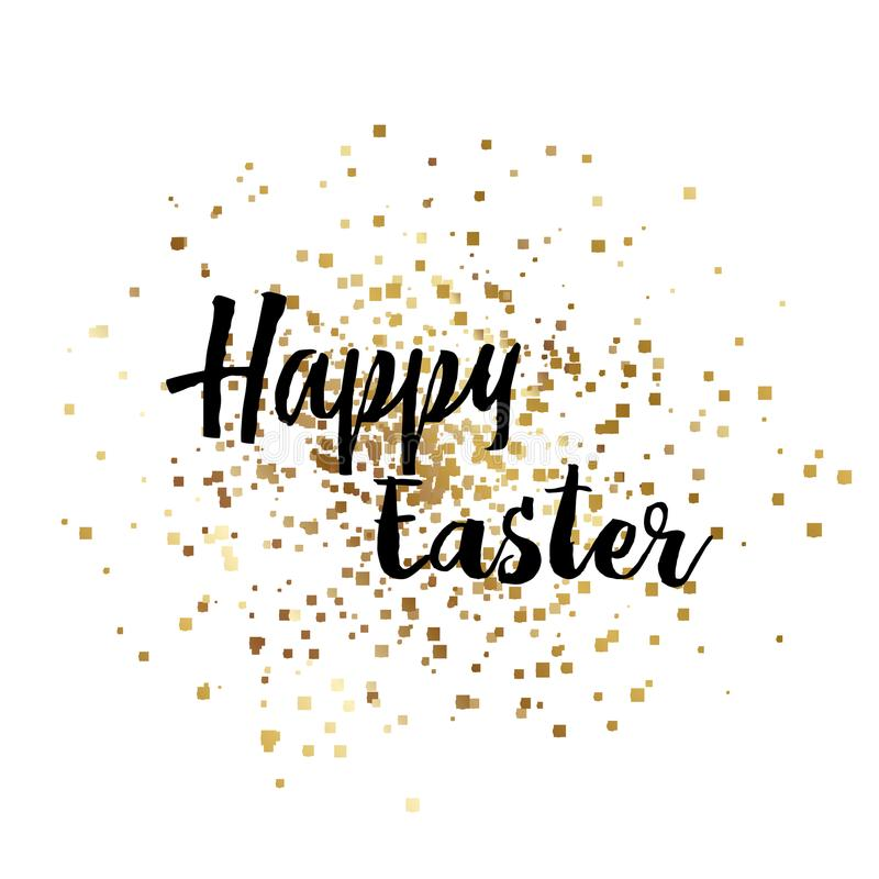 Happy Easter with gold sparkles and hand written text. Vector. stock photography