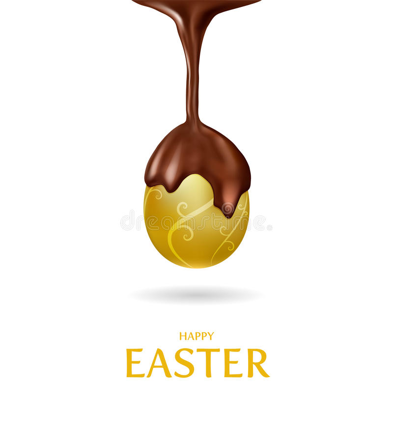 Happy Easter.Golden Egg and melted chocolate. Happy Easter with Golden Egg and melted chocolate stock illustration