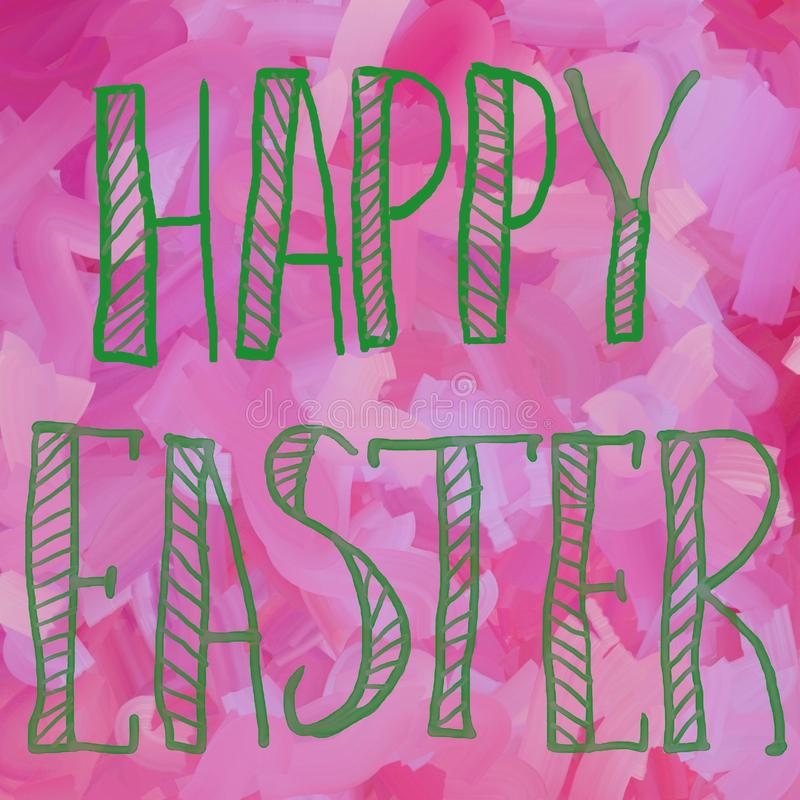 Happy Easter in green color typographic lettering greeting card on pink background. Hand drawn typography for Easter. Holiday stock illustration