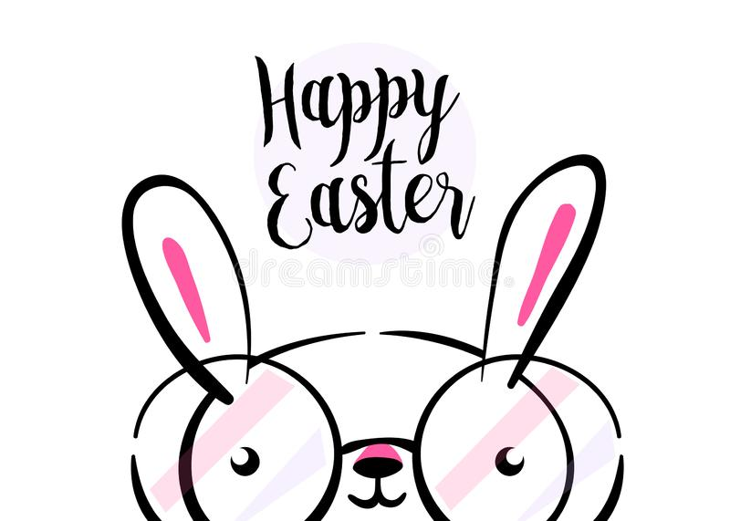 Happy easter greeting card background with cute bunny wear glasses with copy space. Vector illustration in hand drawing vector illustration