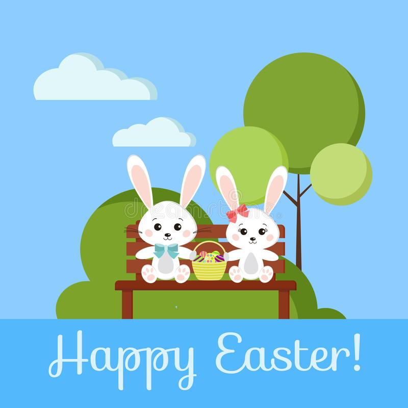 Happy Easter greeting card with boy and girl sweet bunny rabbits on wooden bench vector illustration