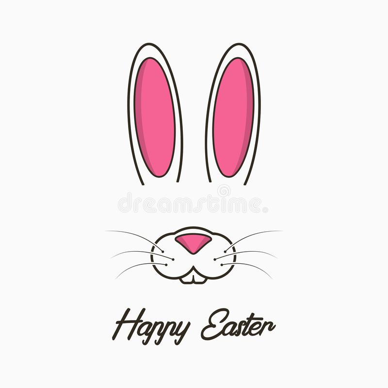 Happy Easter greeting card with bunny. Celebration banner, poster with easter bunny face and ears. Vector. royalty free illustration