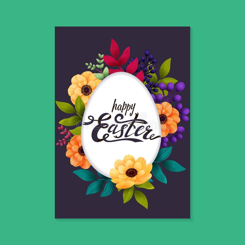 Happy Easter greeting card. Calligraphic lettering on white egg frame and colorful exotic flowers dark background stock illustration