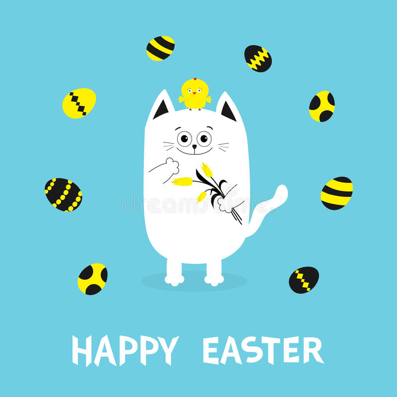Happy Easter Greeting card. Cat holding yellow tulip flower and chicken bird set. Baby chick bird friends Painting eggs shell.Cute royalty free illustration