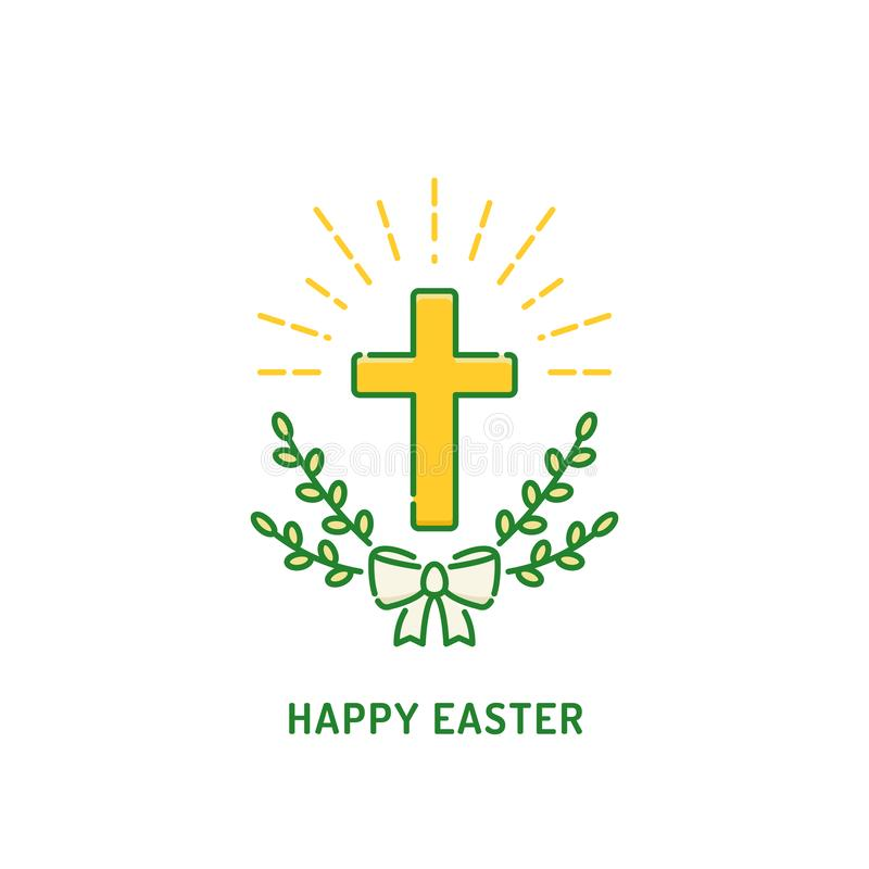 Happy Easter greeting card. Christian cross with willow. Religion holiday logo. Happy Easter greeting card. Christian cross with willow. Religion holiday linear stock illustration