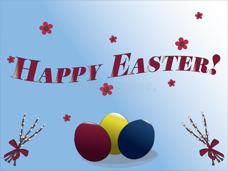 Happy Easter greeting card with colored Easter eggs, flowers, and willow twigs royalty free illustration