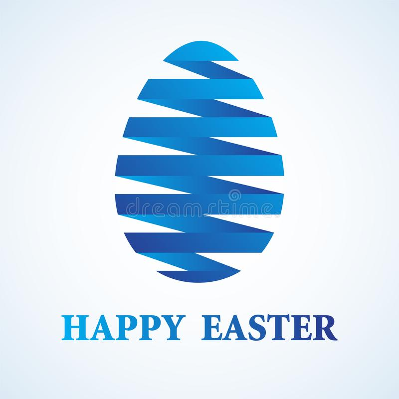 Happy Easter Greeting Card Design with Blue Gradient Ribbon East stock illustration
