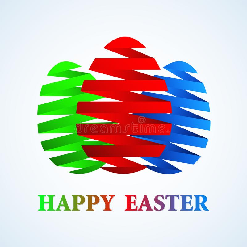 Happy Easter Greeting Card Design with Colored Gradient Ribbon E royalty free illustration