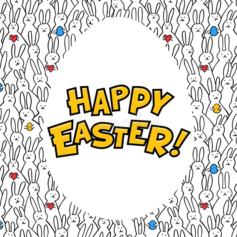 Happy Easter greeting card. Egg with happy easter iscription on bunny pattern bakground. Vector illustration. vector illustration