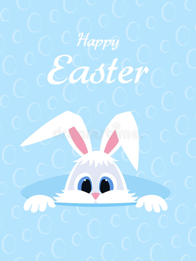 Happy Easter greeting card with eggs background and rabbit. White cute Easter Bunny peeking out of a hole. long ears. vector illustration