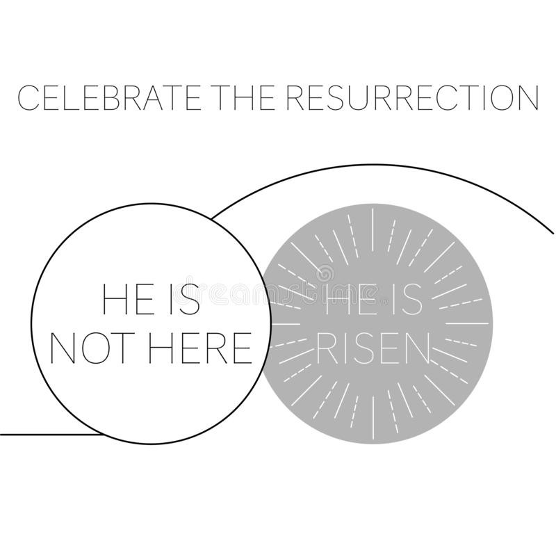Happy easter greeting card with empty tomb royalty free illustration