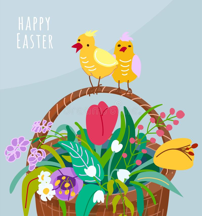 Happy easter greeting card with flower basket, two chickens on the handle of the pottle. Spring vector illustration with stock photography