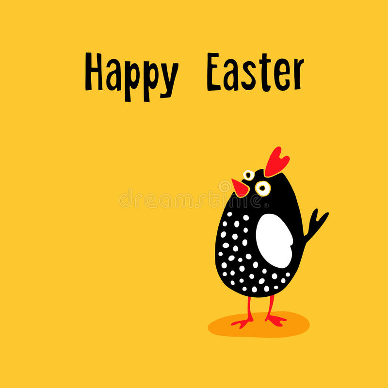 Happy Easter greeting card with funny chicken, hand drawn cartoon character, stock photo