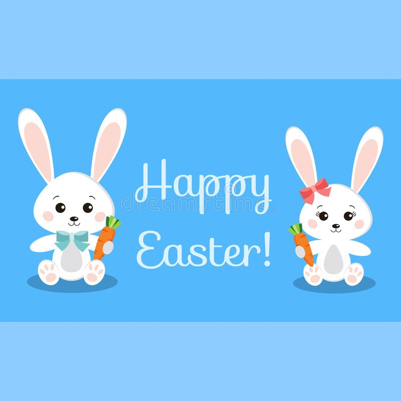 Happy Easter greeting card with funny rabbits holding carrot stock illustration