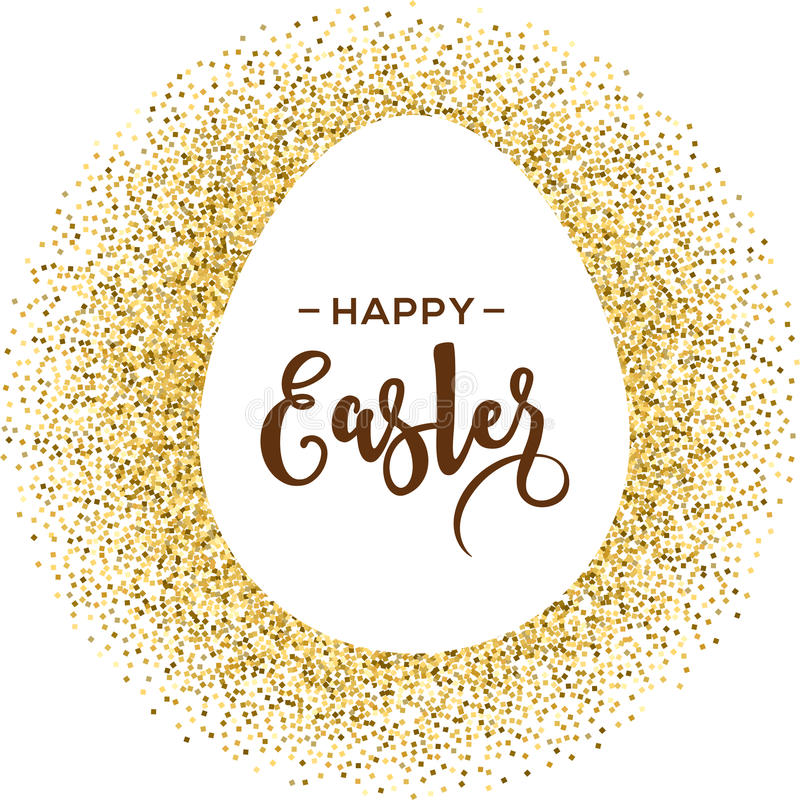Happy Easter greeting card with gold egg. With lettering royalty free illustration