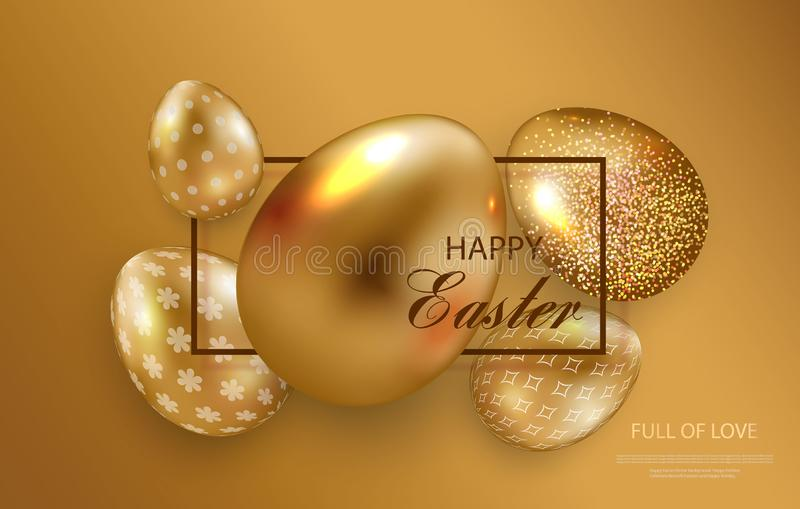 Happy Easter greeting card, golden eggs set with geometric pattern. Vector vector illustration