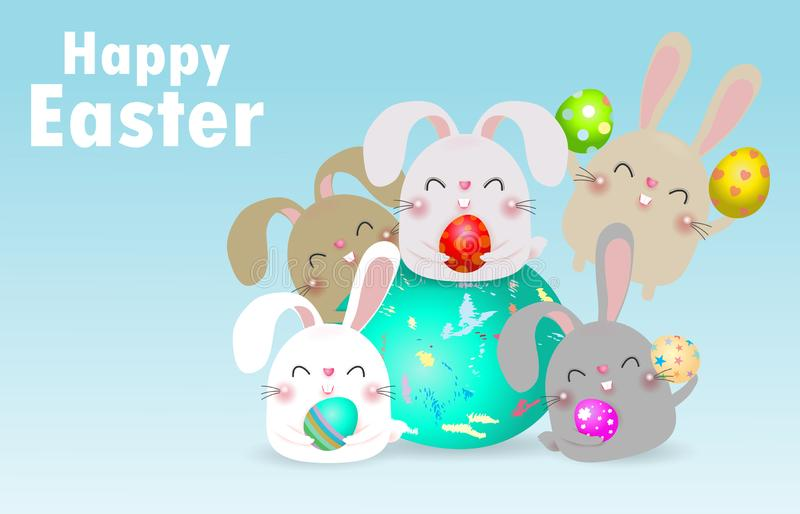 Happy Easter greeting card. group of Little Rabbit holding Easter eggs, Rabbit Bunny Easter banner template isolated Background vector illustration