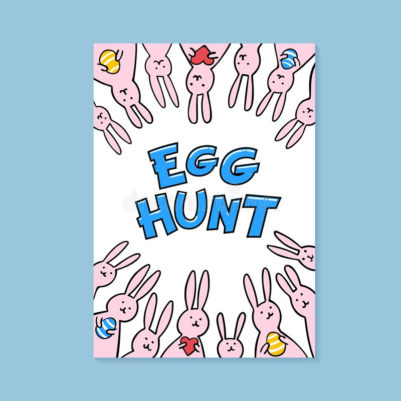Happy Easter greeting card. Happy easter inscription and cute bunnies on white background. Vector illustration. stock illustration