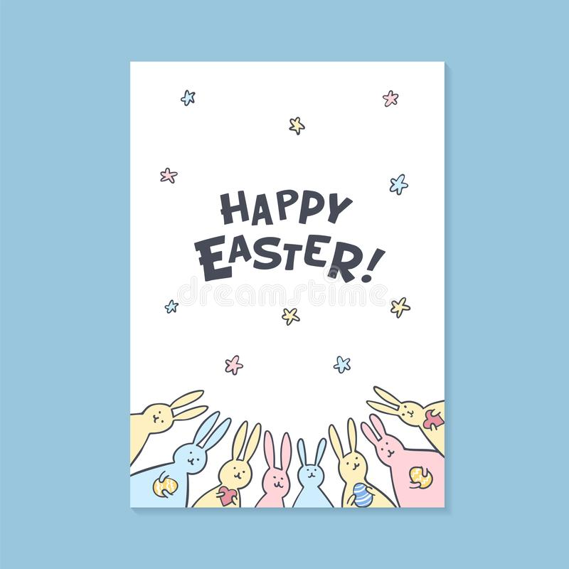 Happy Easter greeting card. Happy easter inscription and cute bunnies on white background. Vector illustration. royalty free illustration