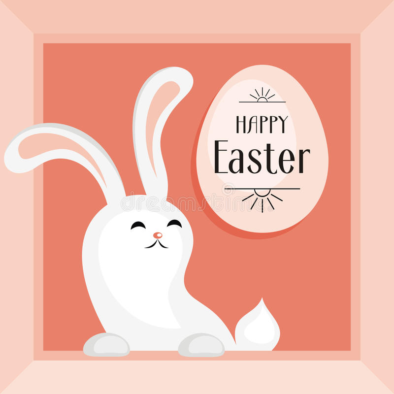 Happy easter greeting card. The image of Easter eggs and white rabbits on a pink background. Vector illustration stock illustration