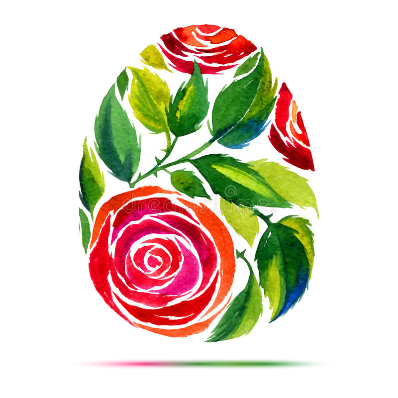 Happy Easter greeting card or invitation. Happy Easter! Watercolor flower rose egg vector illustration