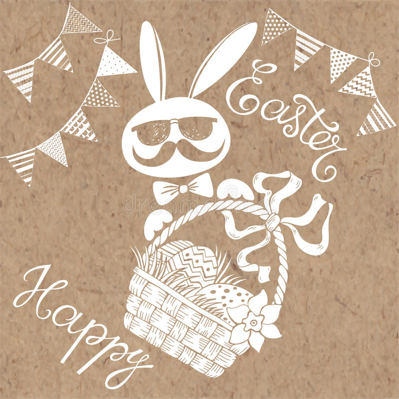 Happy Easter. Greeting card or invitation. Easter greeting card. Vector illustration on kraft background stock illustration