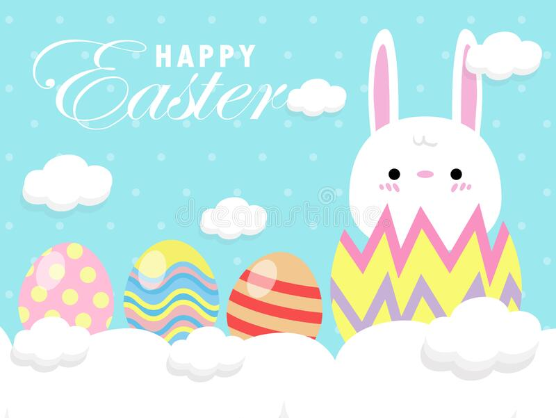 Happy Easter greeting card. Little Rabbit Bunny Easter banner template isolated on Background. stock illustration