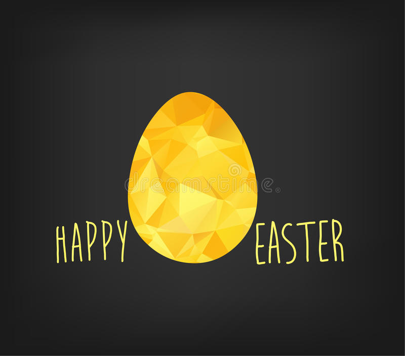 Happy Easter greeting card in low poly triangle style. Flat design polygon of golden easter egg on black background vector illustration