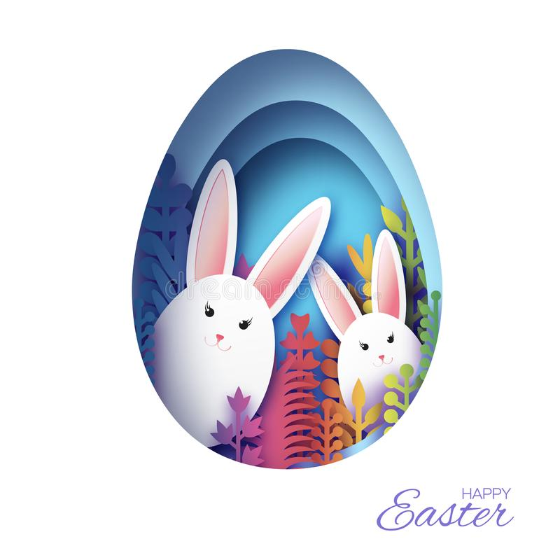 Happy Easter Greeting card with paper cut bunny rabbit, colorful spring flowers. Blue Egg shape frame. Place for text. vector illustration