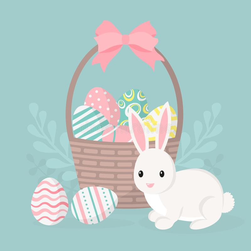 Happy easter greeting card, poster with cute bunny. Rabbit and basket with easter eggs. stock illustration