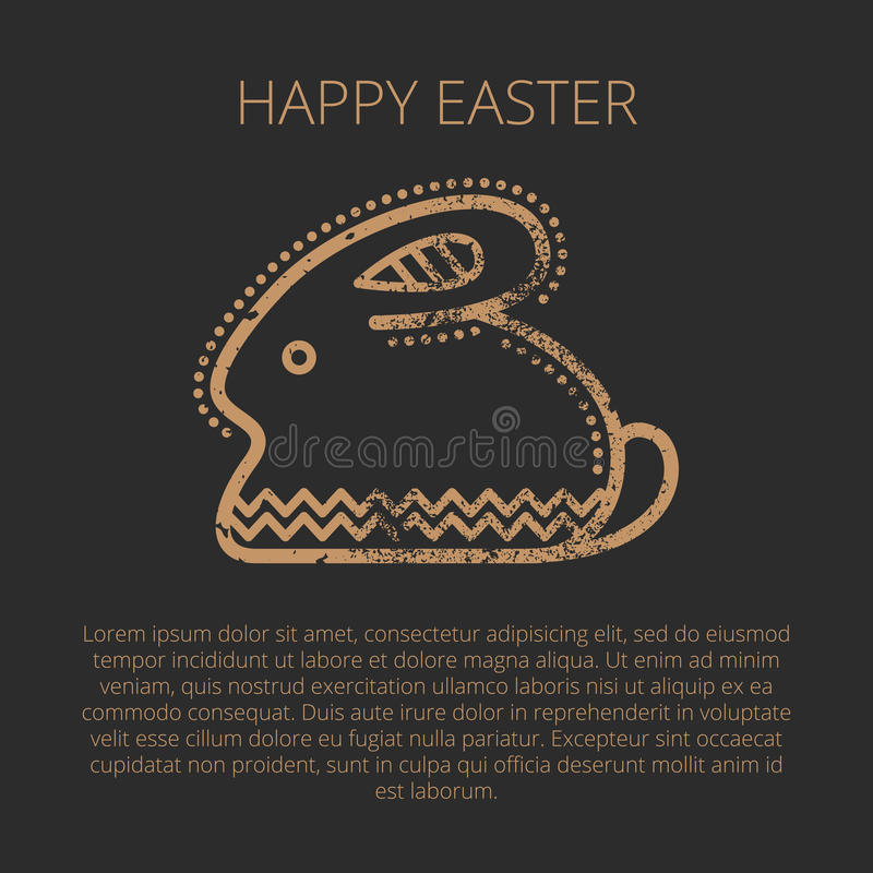 Happy Easter Greeting Card Template With Easter Rabbit Stock Vector