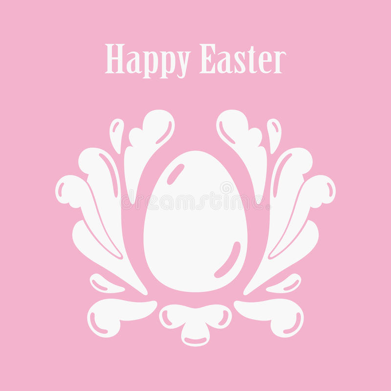 Happy Easter Greeting Card Template With Egg Stock Illustration