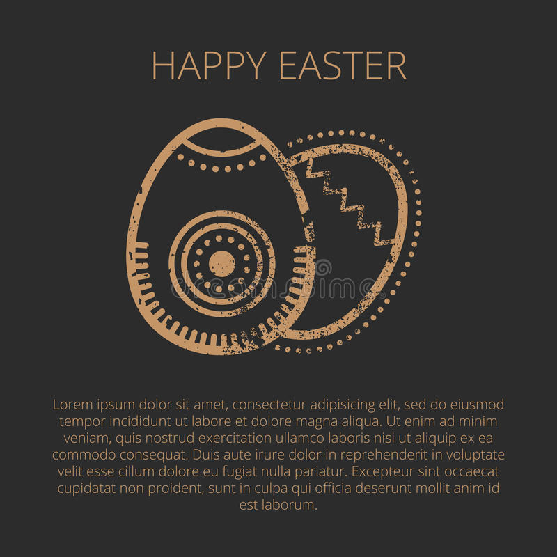 Happy Easter Greeting Card Template With Golden Eggs Stock Vector