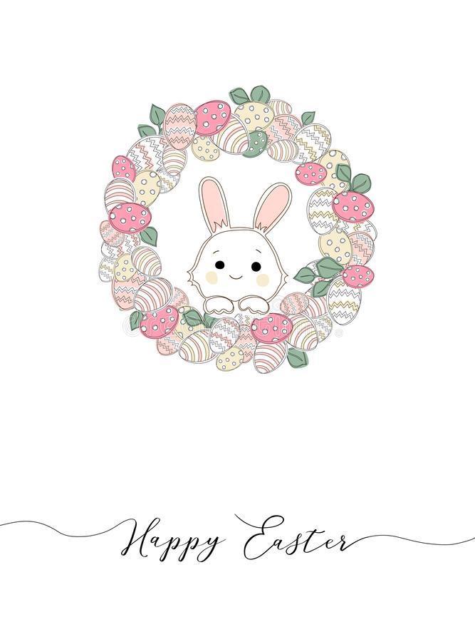 Easter wreath with easter eggs hand drawn seamless pattern. vector illustration