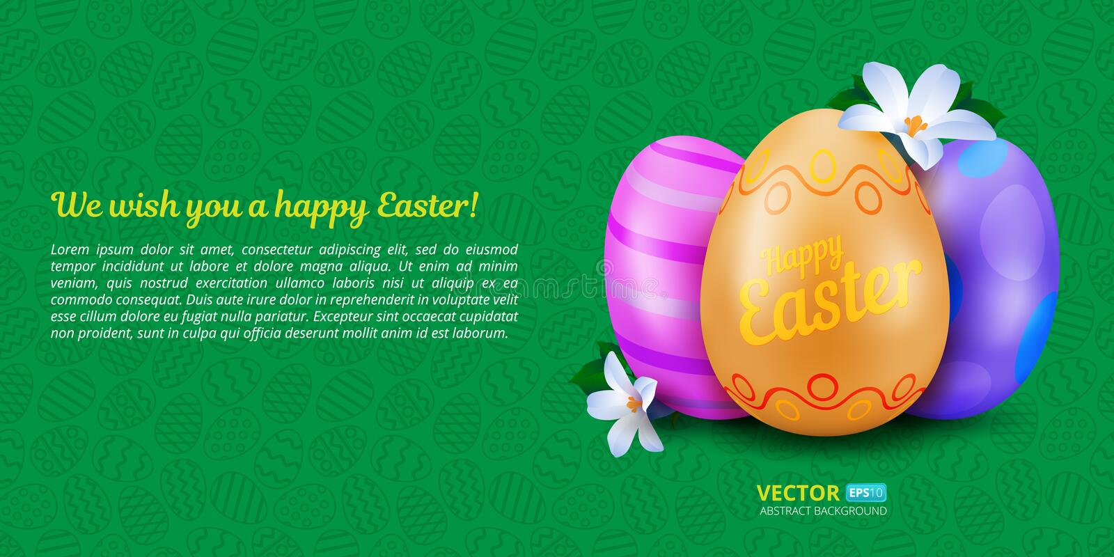 Happy Easter greeting card with three colorful painted eggs and spring flowers on green seamless pattern. vector illustration