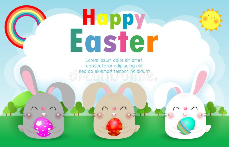 Happy Easter greeting card. Three Little Rabbit holding Easter eggs,  Rabbit Bunny Easter banner template isolated on Background. stock illustration