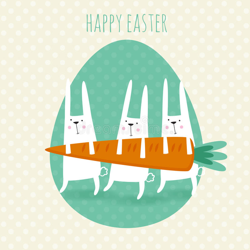 Happy easter greeting card. Vector illustration with cute rabbits and carrot