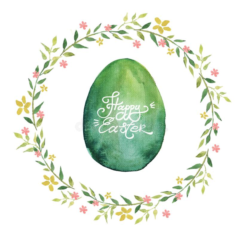 Happy Easter greeting card. Watercolor wreath with spring flowers, green Easter egg and lettering. vector illustration