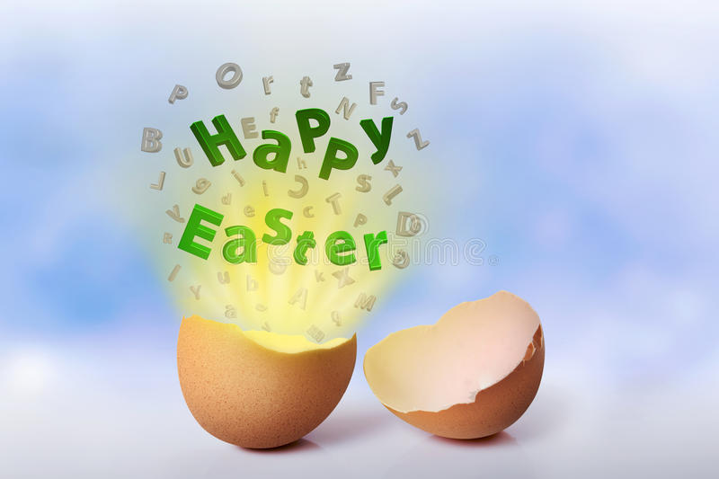 Happy easter greeting from cracked egg. Happy Easter Concept royalty free stock images