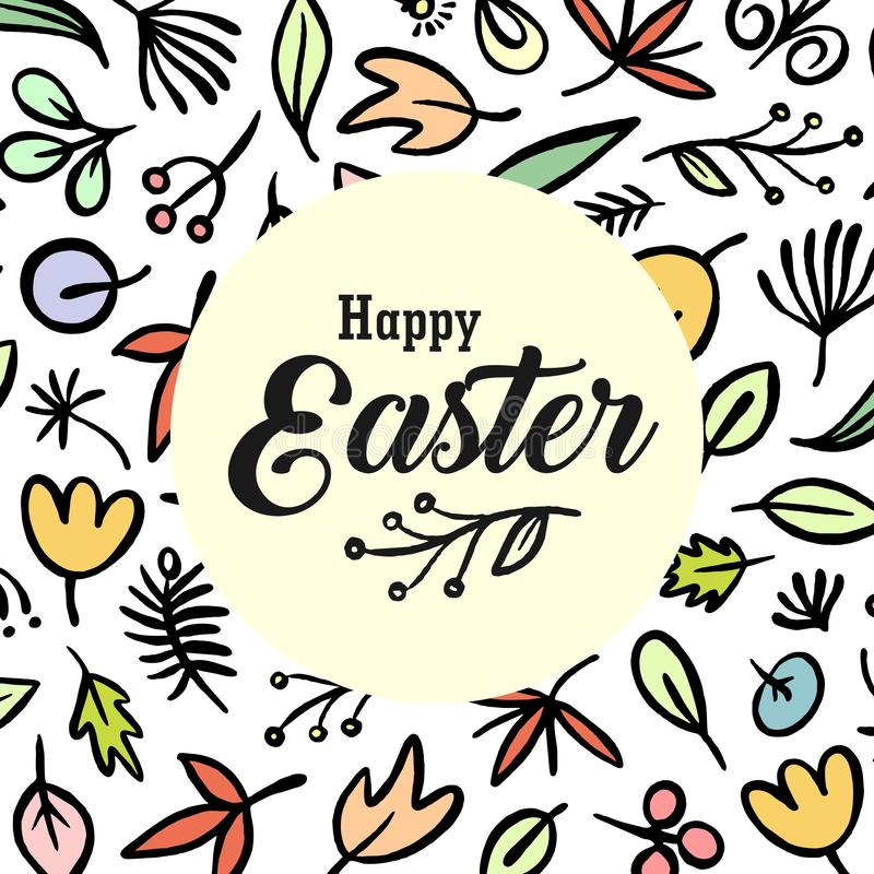 Happy Easter greetings card with colorful floral pattern background. Vector flat celebration holiday illustration vector illustration