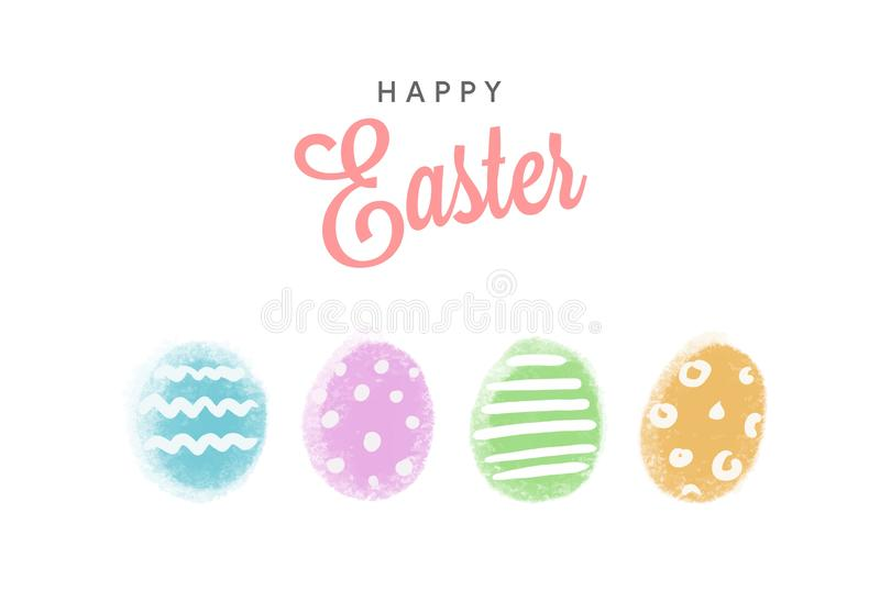 Happy Easter greetings card with four colorful eggs isolated on white background. Vector flat celebration illustration vector illustration