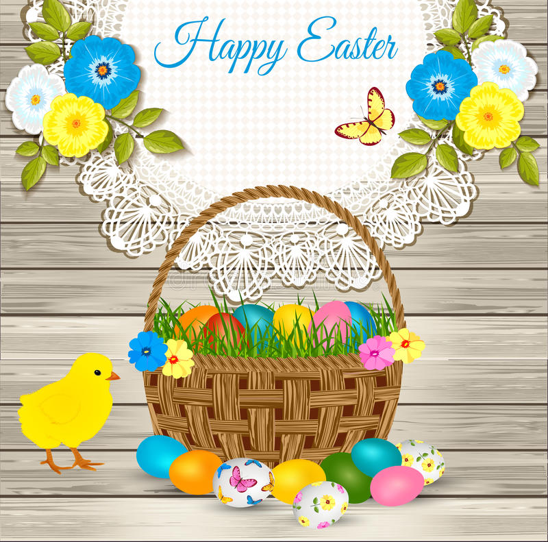 Happy easter greetings easter basket with eggs yellow chicken download happy easter greetings easter basket with eggs yellow chicken flowers on wooden m4hsunfo Choice Image