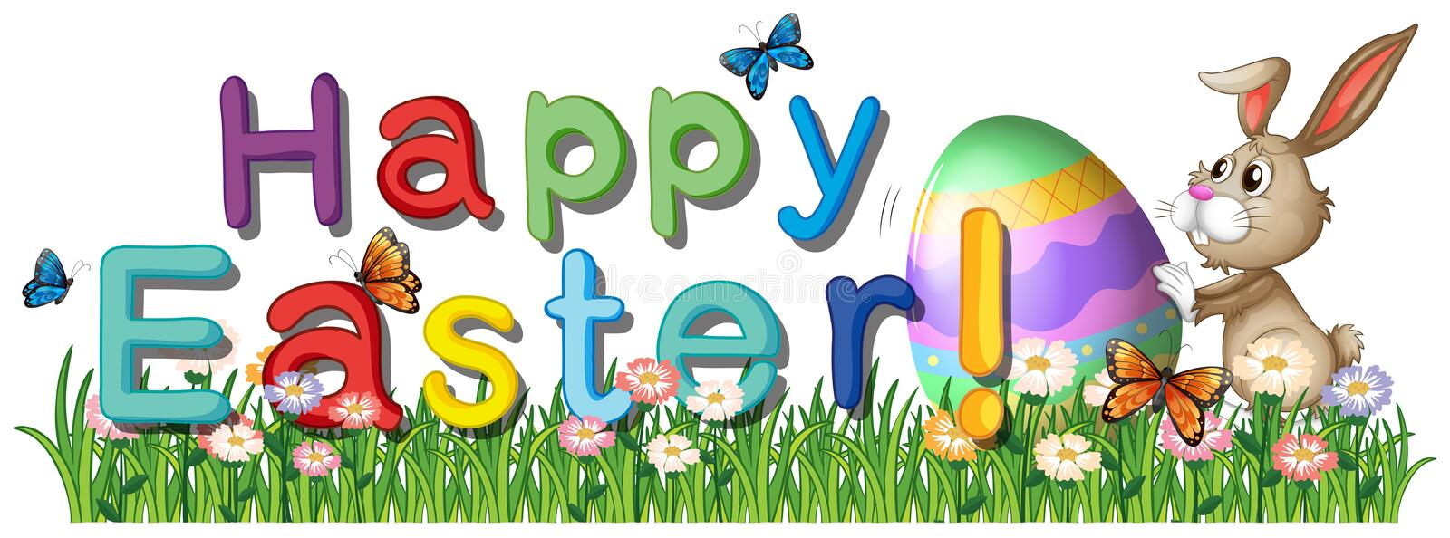 A happy easter greetings in the garden royalty free illustration