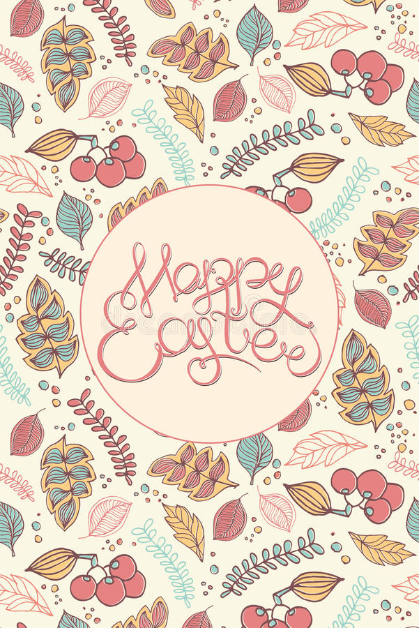 Happy easter Hand drawing lettering headline on decorative background. Eastel greeting card stock photos