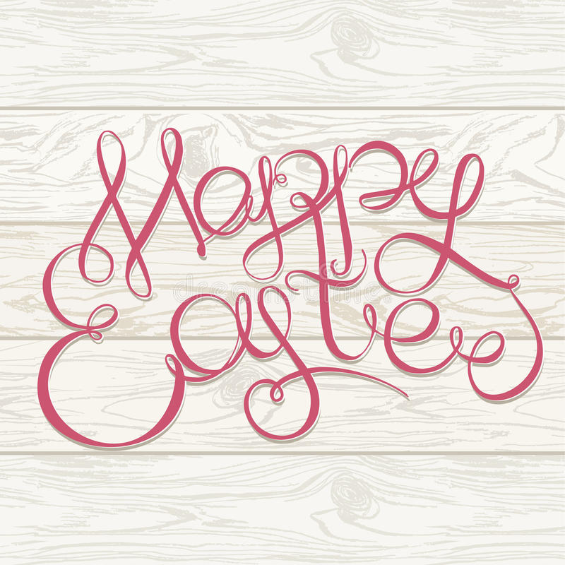 Happy easter Hand drawing lettering headline on wooden background. Eastel greeting card stock images