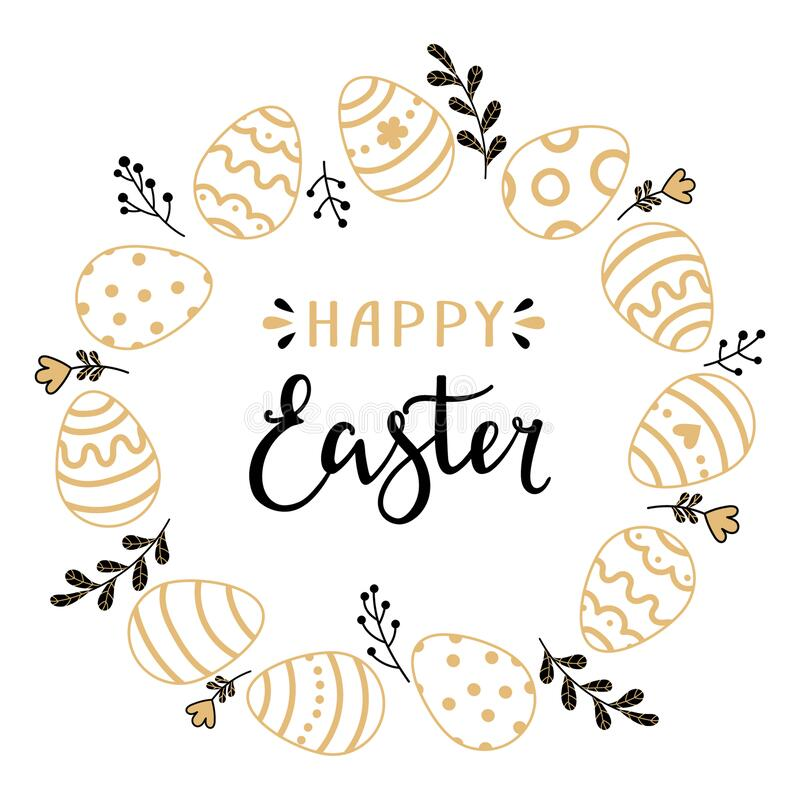 Happy easter hand drawing vector round wreath royalty free stock photography