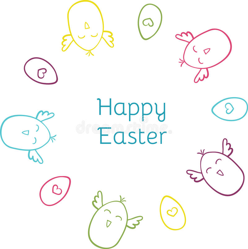 Happy Easter hand drawn cute doodle round wreath vector illustration