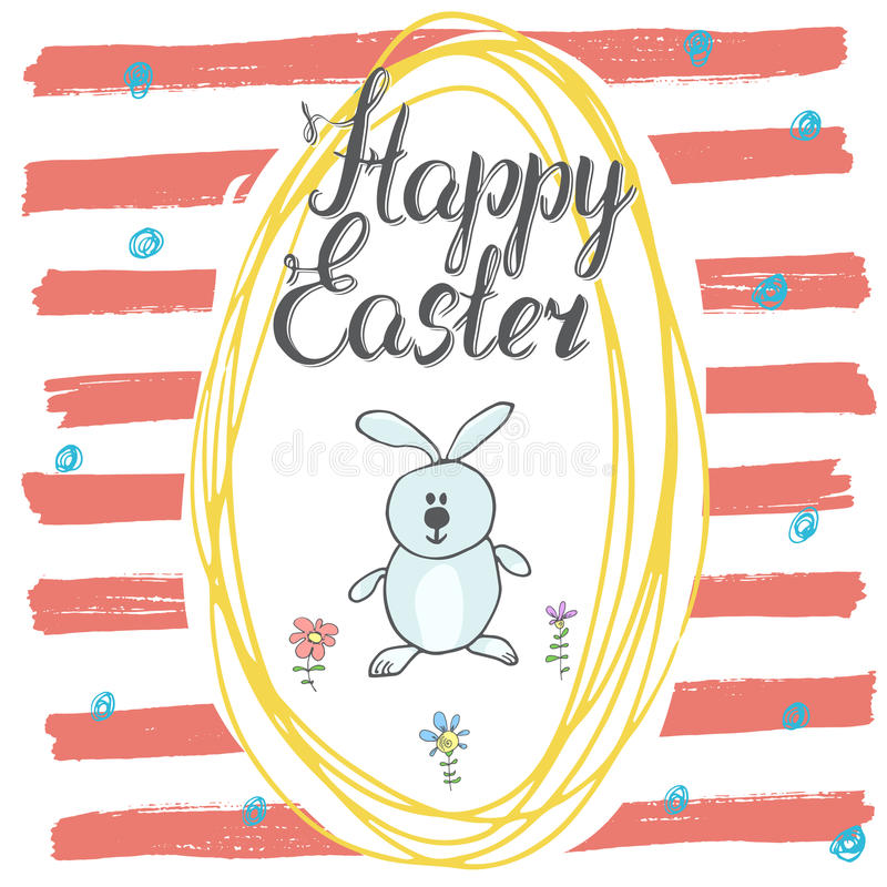 Happy Easter hand drawn greeting card with lettering and sketched doodle elements cute rabbit in easter egg shape on color backgro stock illustration