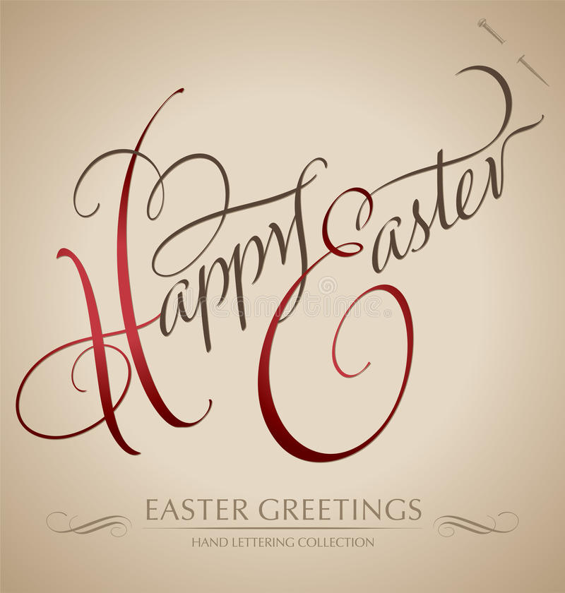 happy easter hand lettering (vector) royalty free stock photos